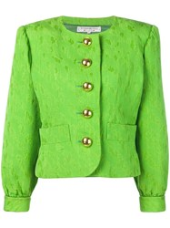 Yves Saint Laurent Vintage Embroidered Boxy Fit Jacket Green