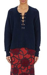 Tess Giberson Women's Lace Up Sweater Blue
