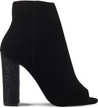 Miss Kg Slender Jewelled Heel Velvet Ankle Boots Black