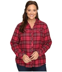 Columbia Plus Size Simply Put Ii Flannel Shirt Red Orchid Large Plaid Women's Long Sleeve Button Up