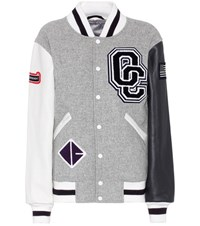 Opening Ceremony Classic Varsity Jacket In Wool Blend And Leather Grey