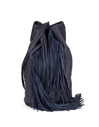 Kenneth Cole Fringed Leather Shoulder Bag Navy