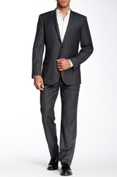 English Laundry Charcoal Chalk Stripe Two Button Notch Lapel Wool Suit Gray