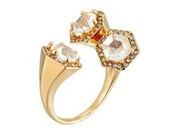 Rebecca Minkoff Three Stone Wrap Ring Gold Toned Crystal Ring