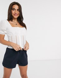 Fashion Union Milkmaid Top With Lace Detail White