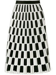 Off White Check Pleated Skirt Black