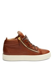 Giuseppe Zanotti Daniel Mid Top Leather Trainers Brown