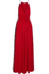 Issa Fringed Silk Georgette Gown Red