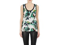 Proenza Schouler Women's Floral Silk Crepe Tiered Tank White No Color