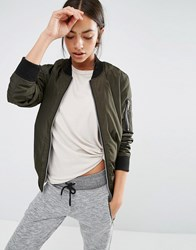 New Look Padded Bomber Jacket Khaki Green