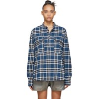 Fear Of God Blue Plaid Pullover Henley Blouse