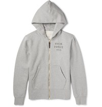 Visvim Stencil Print Cotton Blend Jersey Zip Up Hoodie Gray