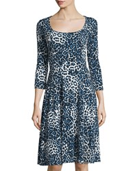Melissa Masse Leopard Print 3 4 Sleeve Fit And Flare Dress Sapphire