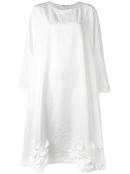 Comme Des Garcons Wide Flower Detail Dress Women Polyester S White