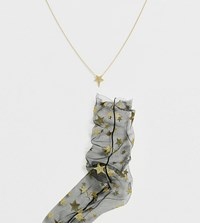 Orelia Gold Plated Star Necklace With Star Mesh Socks Gift Set