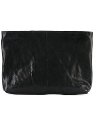 The Last Conspiracy Small Waxed Clutch Women Cotton Horse Leather One Size Black