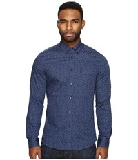 Ben Sherman Long Sleeve Soho Print Party Woven Staples Navy Men's Long Sleeve Button Up Black