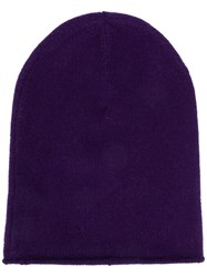 Allude Chunky Knit Beanie Hat Purple