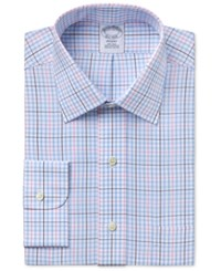 Brooks Brothers Brooks Brother Men's Regent Classic Fit Light Blue Plaid Dress Shirt