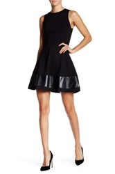 Love Ady Pleather Insert Ponte Fit And Flare Dress Black