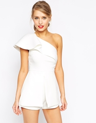 Asos Playsuit With One Shoulder Ruffle Winterwhite
