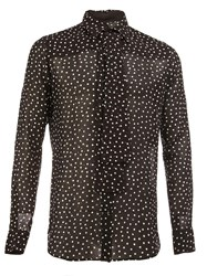 Saint Laurent Semi Sheer Polka Dot Shirt Black