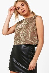 Boohoo Erika Printed Crop Top Taupe