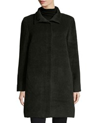 Sofia Cashmere Funnel Neck Single Breasted Wool Blend Coat Women's