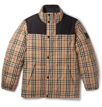 Burberry Reversible Quilted Checked Shell Down Jacket Neutrals