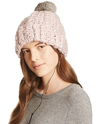 Rebecca Minkoff Cable Knit Beanie With Fur Pom Pom Pale Pink