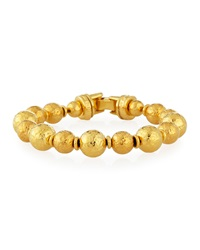 Gold Plated Hammered Bead Bracelet Jose And Maria Barrera