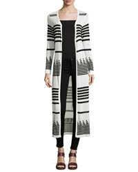 Neiman Marcus Long Striped Open Cardigan Black White