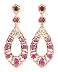 18K Rose Gold Pink Tourmaline And Diamond Teardrop Earrings Bavna