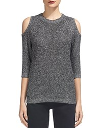 Whistles Sparkle Cold Shoulder Sweater Silver