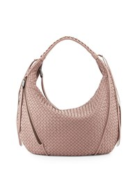 Christopher Kon Woven Leather Tassel Hobo Bag Mauve Pink