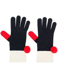 Chinti And Parker Pompom Gloves Blue