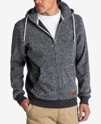 Quiksilver Men's Keller Full Zip Hooded Sweatshirt Dark Charcoal