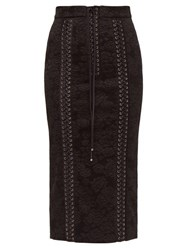 Dolce And Gabbana Lace Up Floral Jacquard Pencil Skirt Black