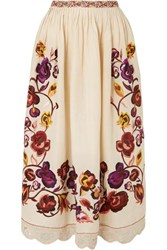 Ulla Johnson Yana Embroidered Linen And Cotton Blend Midi Skirt Off White
