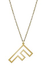 Women's Jane Basch Designs Varsity Initial Pendant Necklace Gold F