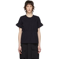 Comme Des Garcons Navy Ruched T Shirt