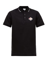 Burberry Aden Logo Embroidered Cotton Polo Shirt Black