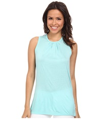 Calvin Klein Jeans Pleated Crew Tank Top Light Opal Women's Sleeveless Blue