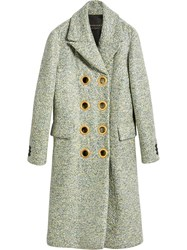 Burberry Laminated Cashmere Double Breasted Coat Green