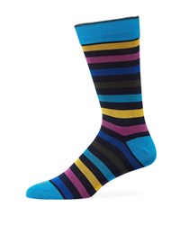 Duchamp Multicolor Striped Cotton Socks Blue