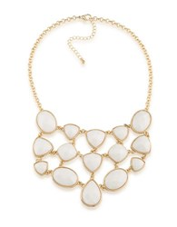 1St And Gorgeous Multi Shape Studded Bib Necklace White