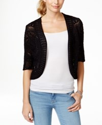 Jm Collection Elbow Sleeve Cropped Crochet Cardigan Only At Macy's