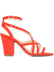 Schutz Karls Strapped Sandals Women Leather Rubber 10 Red