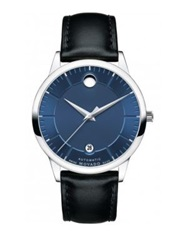 Movado 1881 Automatic Stainless Steel And Leather Strap Watch Black