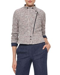 Akris Punto Tweed Denim Moto Jacket Multi Multi Colors
